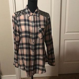 Melrose and Market Pink/White/Black Plaid Flannel